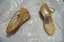womens hot gossip orange sparkly jelly wedge heels shoes size 10