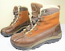 Timberland Woodbury Mens Duck Boots 8 Brown Leather Waterproof Fx Shearling EUC