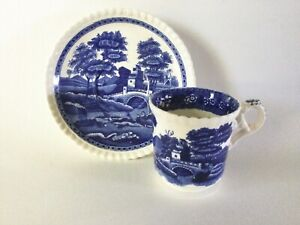 Copeland Spode Blue TOWER Demitasse Cup & Saucer Gadroon Edge Old Oval Mark Engl