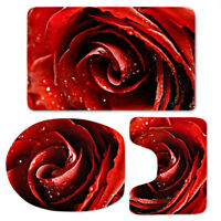 Floral Bathroom Rug Set, Toilet Seat Cover Washable Soft Contour Bath Mat Carpet