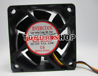 EVERCOOL EC6025H12C Automatic alarm cooling fan 12V 0.20A 2.4W 60*60*25mm 3wire