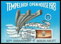 BERLIN MK 1978 LUFTFAHRT LUFTBRÜCKE AIRLIFT MAXIMUMKARTE MAXIMUM CARD MC CM m786