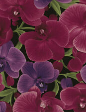 Timeless Treasures Large Packed Orchids Magenta 100% cotton fabric by the yard