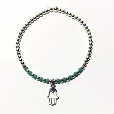 Sterling Silver Beaded Stacking Bracelet Hand Of Fatima