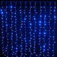 Tenda pioggia di Natale 192 luci a led blu 2x1 mt per uso esterno con 8 giochi d