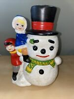Vintage Hand painted Ceramic Snowman Hat Scarf Candy Jar- 8""