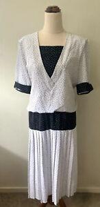 Suzanne Grae Size 12 White Black Long Vintage Blouson Dress Knife Pleated Skirt