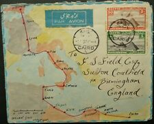 EGYPT 1 MAR 1937 HAND DRAWN AIRMAIL COVER FROM CAIRO TO BIRMINGHAM, ENGLAND