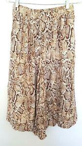 BARDOT women's Designer Brown/White Snakeskin Print Culotte wide leg pants 8 GRT