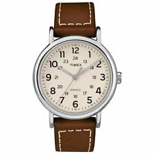 Timex TW2R42400, Unisex Weekender Brown Leather Strap Watch, Indiglo, 40MM