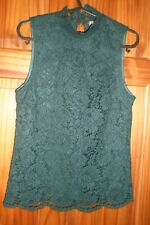 H&M GREEN SLEEVELESS LACE TOP SIZE 8