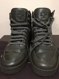 Authentic GUCCI Mens Military Green Highcut Sneaker Shoes w/Box, Size:UK 7