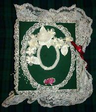 Handmade Photo Album / Scrapbook : Hunter Green & Silvery White Lace & Flowers