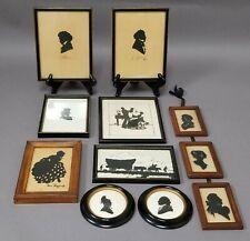 Misc Lot 11 Antique Vintage Silhouettes Framed