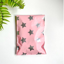 Designer PolyMailers Envelopes Shipping Bags Packaging(Pink Silver Stars)2 sizes