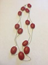 Majestic Look Red Italian Coral Gemstone Silver Jewelry Necklace 36''-N7161