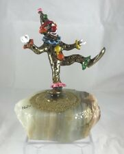 Signed Ron Lee Clown Figurine 1985 Dancing Clown 24K Gold Plate Marble Base