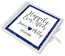 Large Personalised Navy Glitter Wedding Guest Book