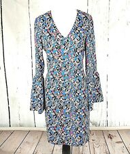Charles Henry Floral Print Dress S Long Bell Sleeve Tunic V Neck small