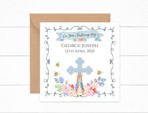 Personalised Christening Day Card Baptism Peter Rabbit Boys Girls