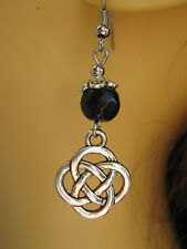 Celtic Knot & Faceted Black Onyx Gemstone Bead Earrings