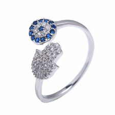 Sterling Silver 925 Evil Eye Hamsa Hand Ring CZ Micro Pave Setting Adjustable Sz
