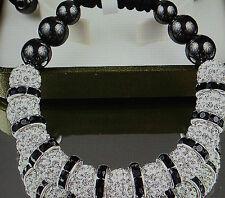 Luxus Shamballa Armband 11 Beads Strass Kristalle weiß schwarz Silber NEU