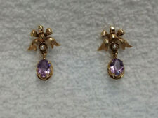 Vintage 14K Gold Pierced Earrings with Amethysts and Small Pearls