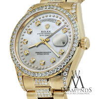 Rolex Presidential Day Date Tone White Dial Diamond Watch 18 KT Yellow Gold