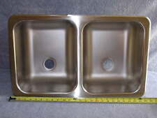 RV Marine 50/50 Stainless Double Bay Galley Kitchen Sink Wash Basin 25 x15.25 x6
