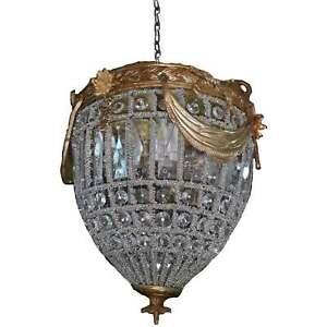 Basket Crystal Polished Brass Chandelier Pendant Clear Beads Ceiling Decoration