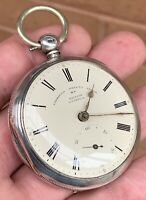 A GENTS EARLY ANTIQUE SOLID SILVER PATENTED LIVERPOOL FUSEE POCKET WATCH 1874.