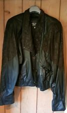 Retro / Vintage Ladies Leather Black Short Body Bolero Cropped pattened Jacket L