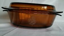 Fire King Glass Roaster Amber Oval Anchor Hocking w Lid Oval 1 1/2 Quart Flowers