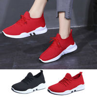 Women's Ladies Running Trainers Lace Up Flat Tennis Gym Sports Shoes US Size 6-8