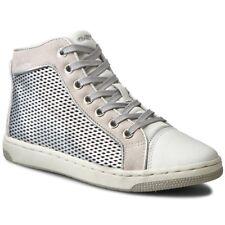Geox J CREMOSO UK 6.5 EU 40 Silver Pearl Hi Top Stivali Cerniera Scarpe Da Ginnastica Scarpe Da Ginnastica Nuovo