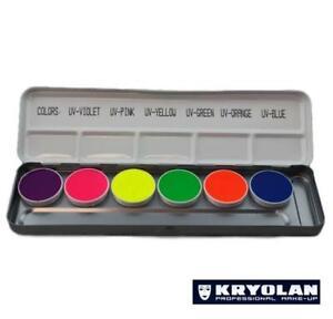Krylon Aquacolor U.V. Dayglow Palette Refills .25oz (4ml)  Face & Body Paint