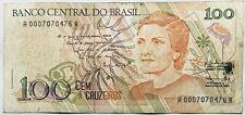 100 Brazilian Cruzados Novos (Cruzeiros) Pre-Real Brazil Banknote 1989 S America