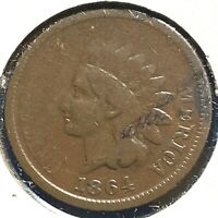 "1864 1C Indian Cent, ""L"" on Ribbon (57578)"