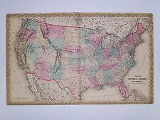 1869 Genuine Antique map United States. Hand colored. Signature border. Colton