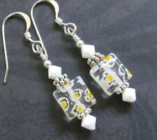 MILLEFIORI earrings Glass SQUARE dangle YELLOW WHITE FLOWER Sterling silver