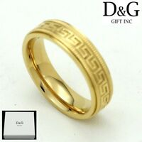 DG Men's Gold Stainless Steel,Design Band Ring Unisex 8,9 10,11,12.13**Box