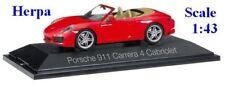 Porsche 991 (2016) Carrera 4 cabriolet rouge - HERPA -  Echelle 1/43