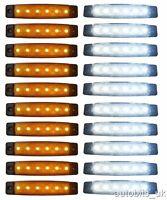 20 pcs ORANGE AMBER WHITE 24V 6 LED Side Marker Indicators Lights Truck Trailer
