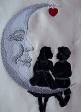"Embroidered Quilt Block Panel ""Cresent Moon Children"" Pure Irish Linen Fabric"