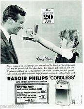 PUBLICITE ADVERTISING 115  1965  PHILIPS   rasoir éléctrique CORDLESS