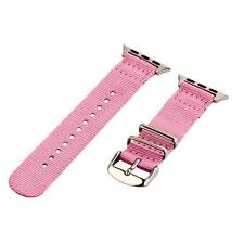 Pink - 2 Piece Classic SS Nylon Watch Band for 38mm Apple Watch