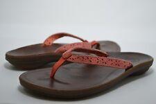 NWOB OLUKAI Womens Puka #20244-40FC Coral Pink Leather Sandals Size 6