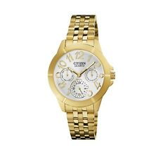 Citizen Women's ED8102-56A Big Numerals Quartz Silver Dial Gold-Tone 35mm Watch