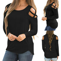 Womens Casual High Low Tops Cold Shoulder Cut Out Long Sleeve T-Shirt Blouse